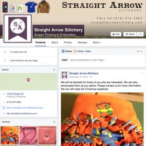 Straight Arrow Stitchery Facebook page design